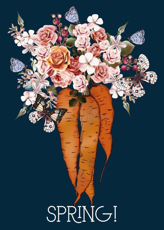 Illustrazione botanica d'annata di vettore di modo con la carota ed i fiori royalty illustrazione gratis
