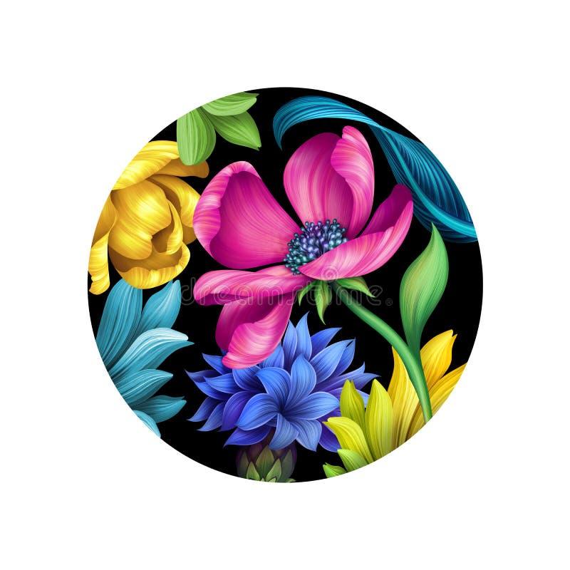 Illustrazione botanica, ornamento floreale, fiori selvaggi, isolati su fondo rotondo nero, tulipano giallo rosa, foglie verdi royalty illustrazione gratis