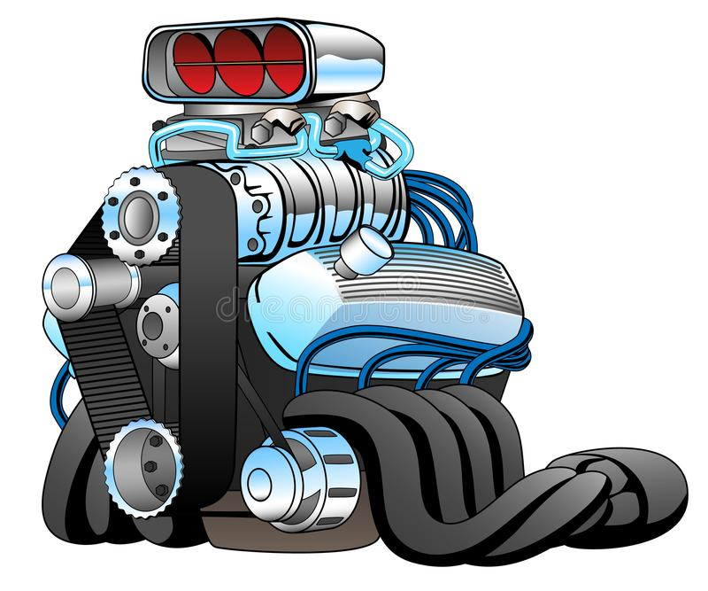 Illustrazione calda di vettore di Rod Race Car Engine Cartoon illustrazione di stock
