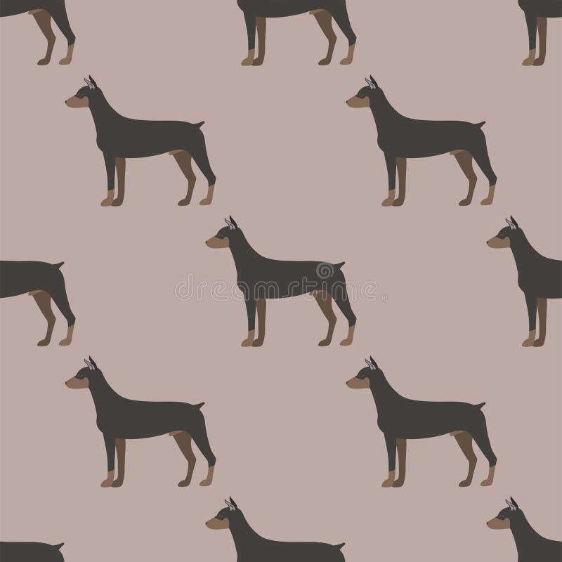 Illustrazione canina senza cuciture di vettore dell'animale domestico del cucciolo del modello del fumetto del doberman del cane  royalty illustrazione gratis