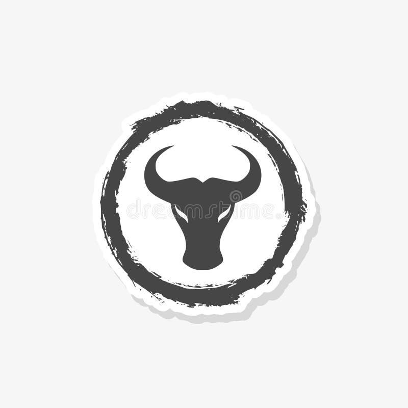 Illustrazione capa di concetto dell'autoadesivo del toro semplice astratto, logo capo della Buffalo illustrazione vettoriale