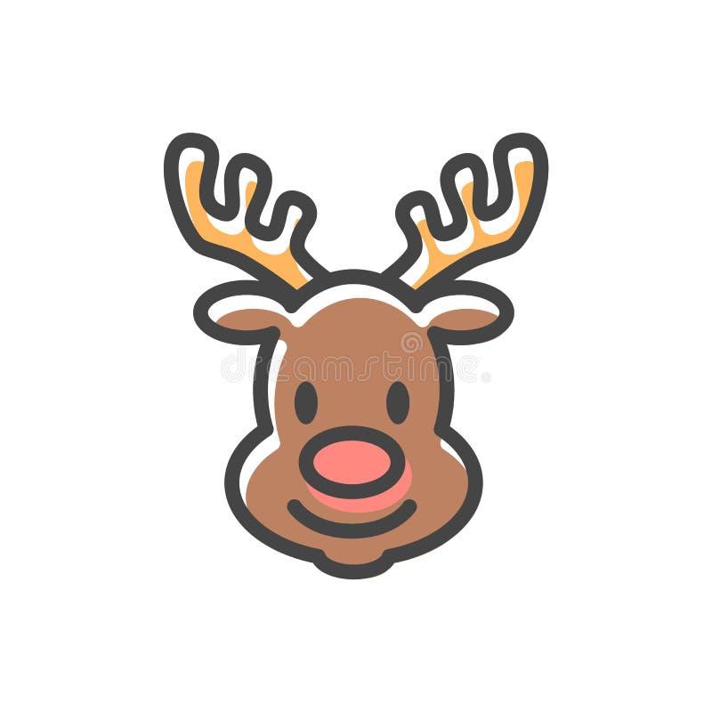 Illustrazione capa di vettore dell'icona di Natale della renna illustrazione vettoriale