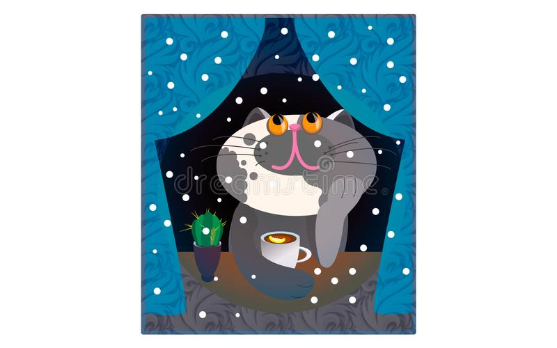 Illustrazione Cat Funny Cartoon di vettore illustrazione vettoriale