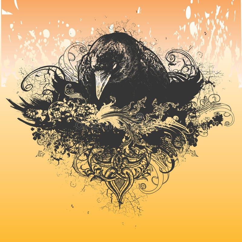 Illustrazione cattiva del corvo illustrazione di stock
