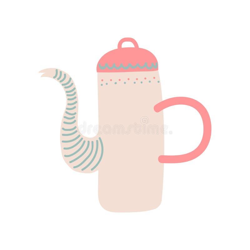Illustrazione ceramica di vettore delle pentole delle terrecotte della teiera sveglia royalty illustrazione gratis