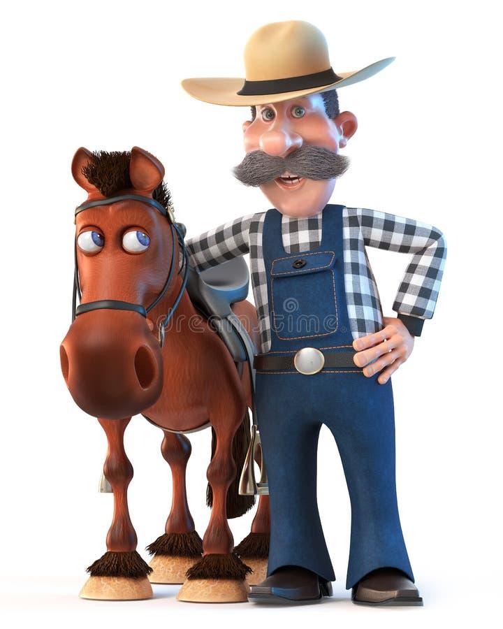 illustrazione che 3d l'agricoltore sta accanto al cavallo illustrazione di stock