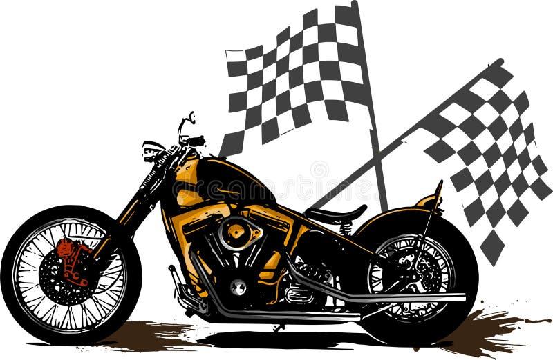 Illustrazione Chopper Motorcycle Poster d'annata di vettore con la bandiera della corsa royalty illustrazione gratis