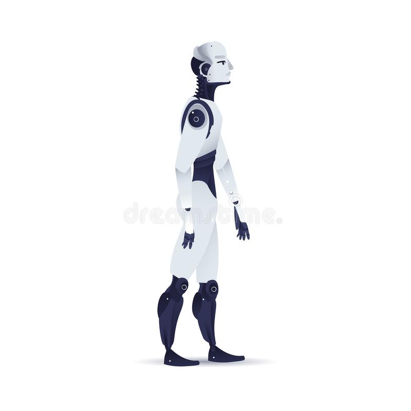 Illustrazione cibernetica di vettore dell'organismo del robot per il concetto di intelligenza artificiale royalty illustrazione gratis