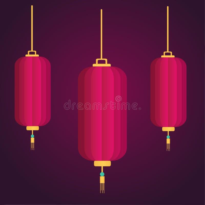 Illustrazione cinese di simbolo di vettore di tre lanterne del nuovo anno illustrazione di stock