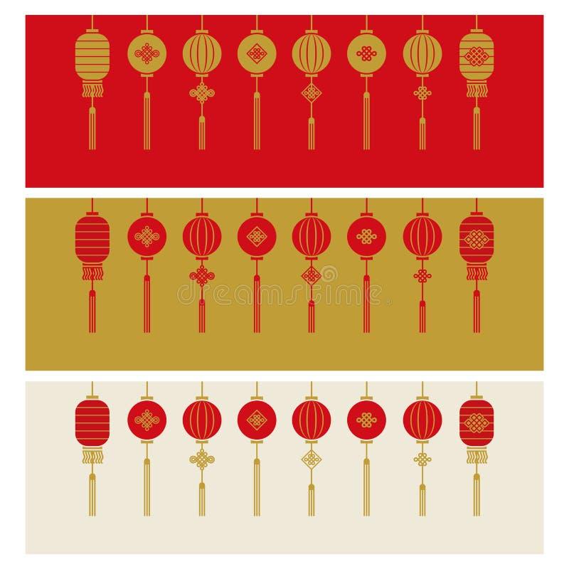 Illustrazione cinese di vettore del fondo dell'insegna del nuovo anno illustrazione di stock