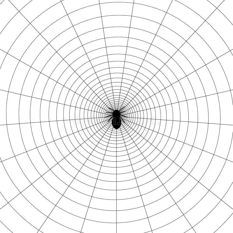 Illustrazione circolare semplice della ragnatela con l'aracnide royalty illustrazione gratis