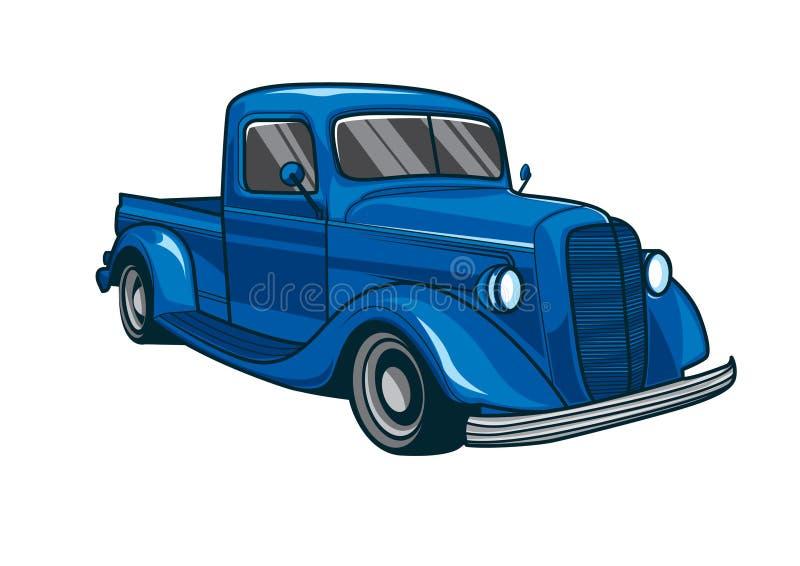 Illustrazione classica blu di vettore dell'automobile del camion illustrazione di stock