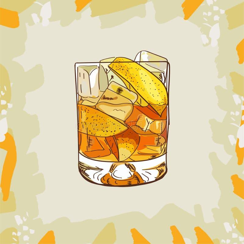 Illustrazione classica contemporanea del cocktail della madrina Vettore disegnato a mano della bevanda alcolica della barra Pop a illustrazione vettoriale
