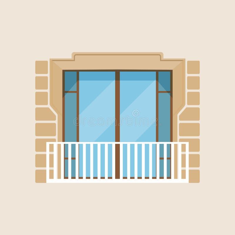 Illustrazione classica di vettore della facciata della casa del balcone moderno illustrazione di stock