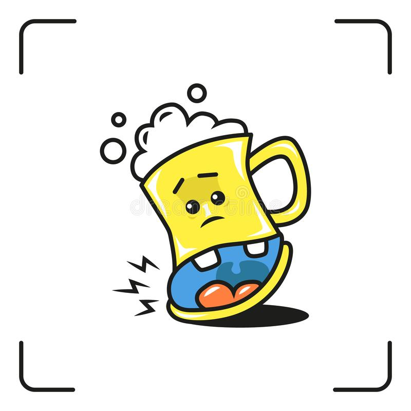 Illustrazione colorata del fumetto di un vetro di birra illustrazione di stock