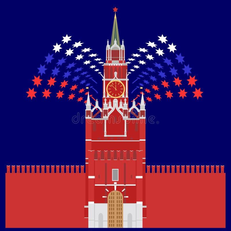 Illustrazione colorata dettagliata della torre di Cremlino firework illustrazione di stock