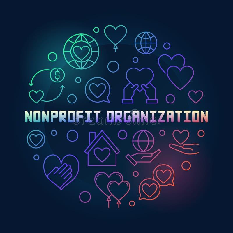 Illustrazione colorata di vettore rotondo di organizzazione no-profit royalty illustrazione gratis