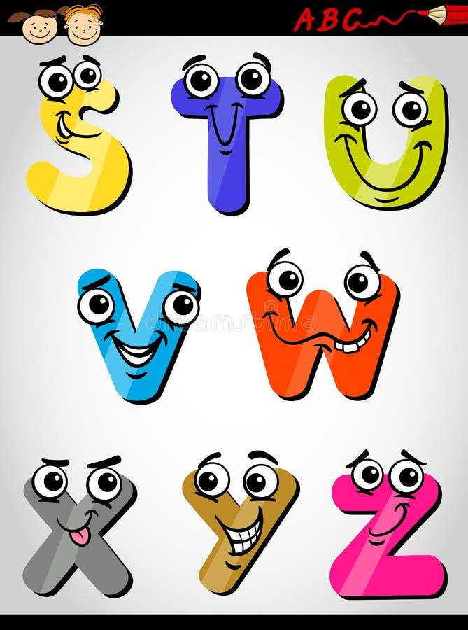 Illustrazione comica del fumetto di alfabeto delle lettere illustrazione vettoriale