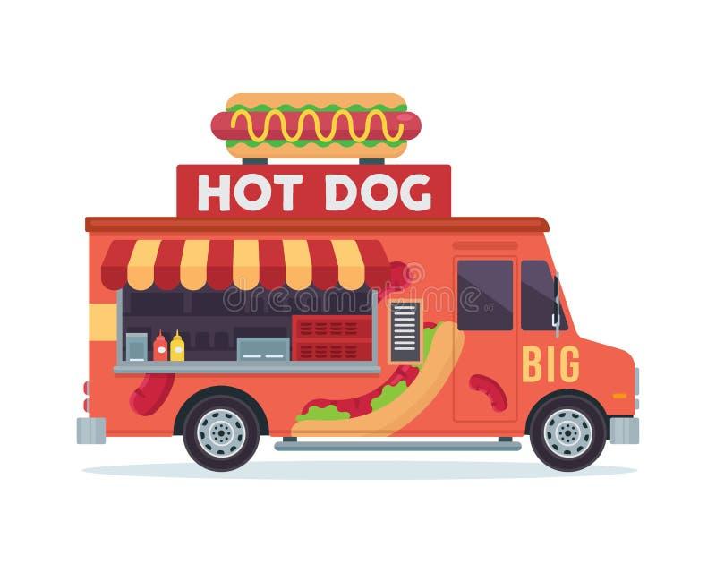 Illustrazione commerciale del veicolo del camion dell'alimento dei pasti deliziosi moderni del hot dog royalty illustrazione gratis