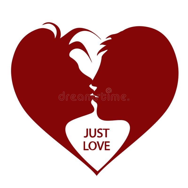 Illustrazione con baciare le siluette della donna e dell'uomo illustrazione di stock