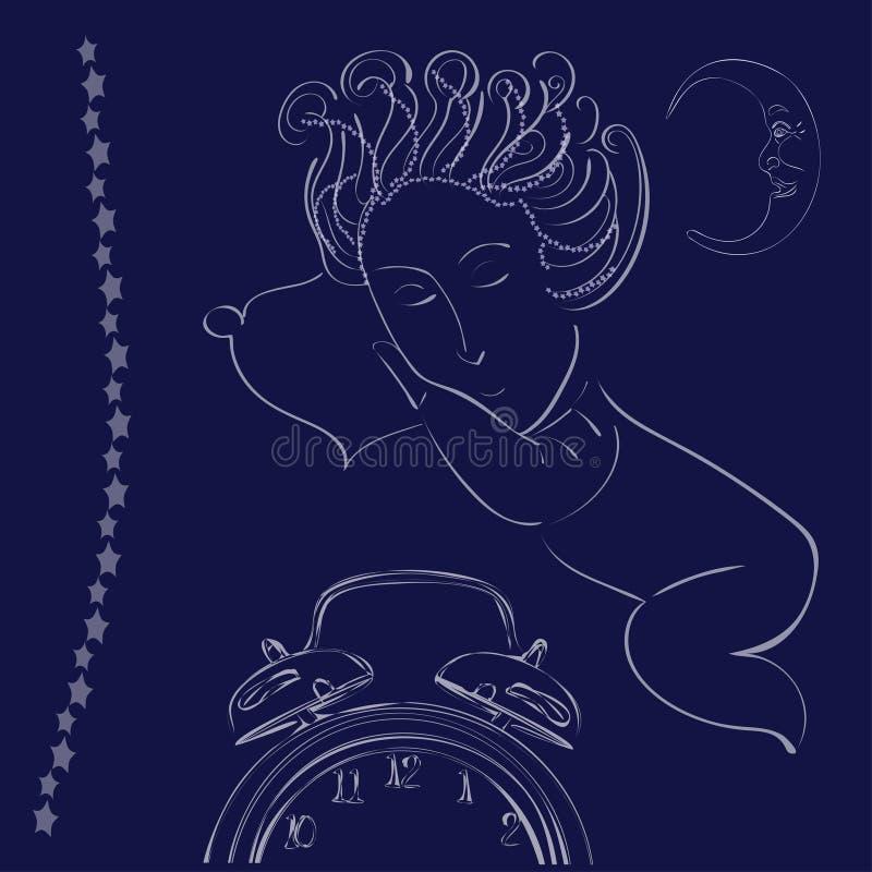 Illustrazione con cielo notturno e sorridere del bambino di sonno illustrazione di stock