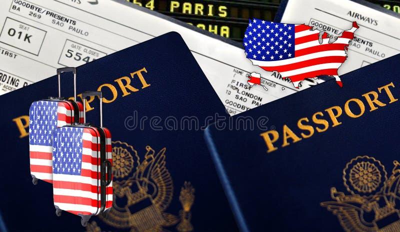 Illustrazione con due passaporti internazionali, due valigie con l'immagine della bandiera di U.S.A., biglietti e la siluetta di  fotografie stock