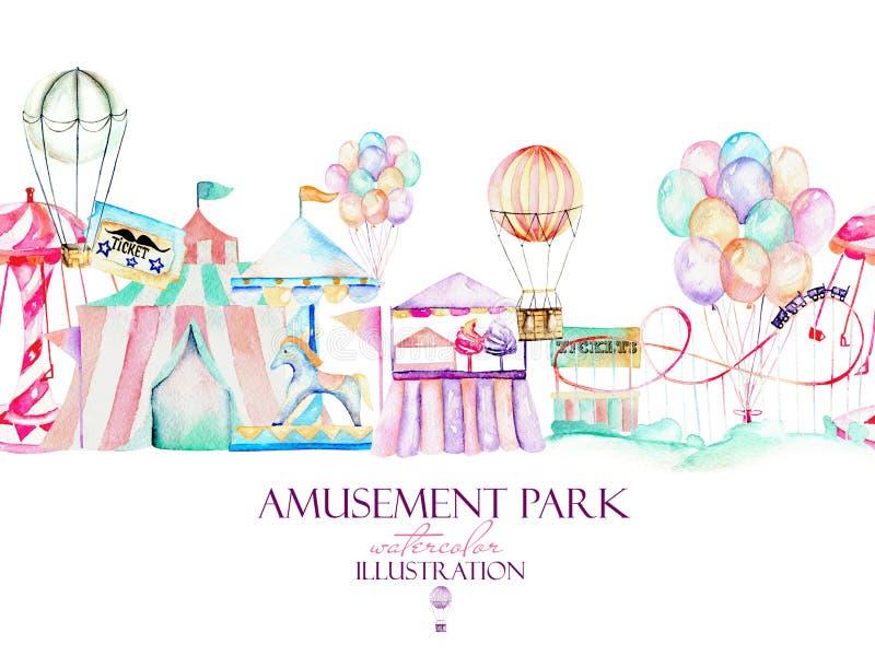 Illustrazione con gli elementi dell'acquerello del parco di divertimenti illustrazione di stock