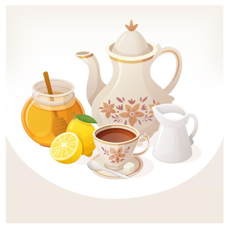 Illustrazione con gli elementi per tempo britannico classico del tè illustrazione di stock