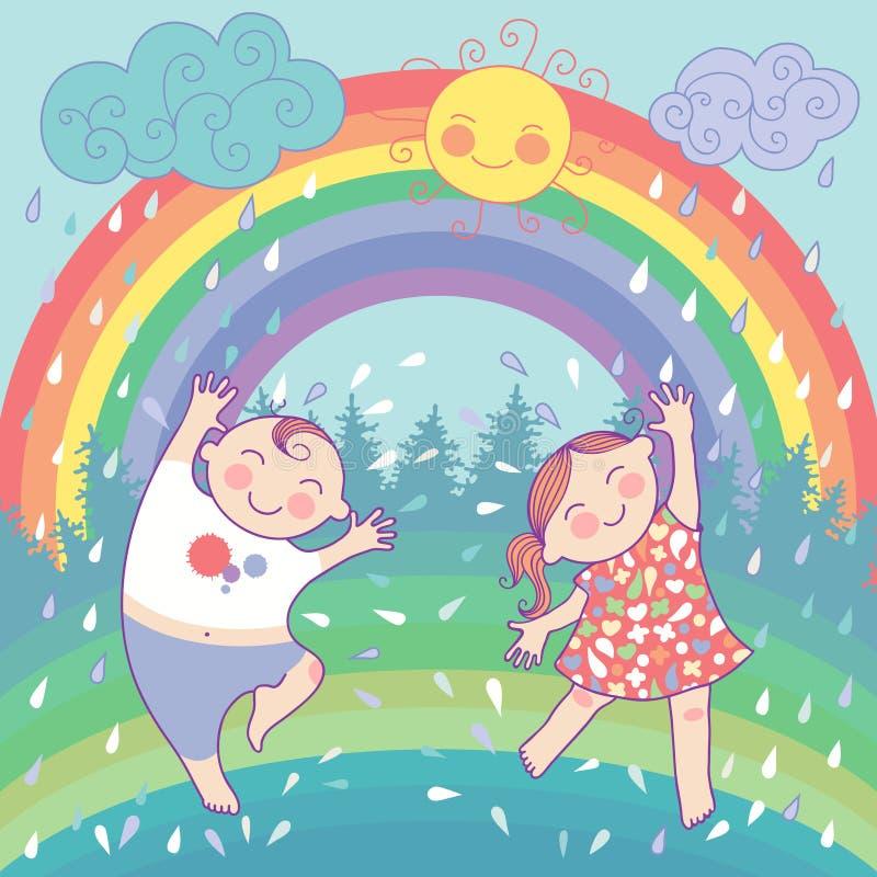 Illustrazione con i bambini felici, arcobaleno, pioggia, s illustrazione vettoriale