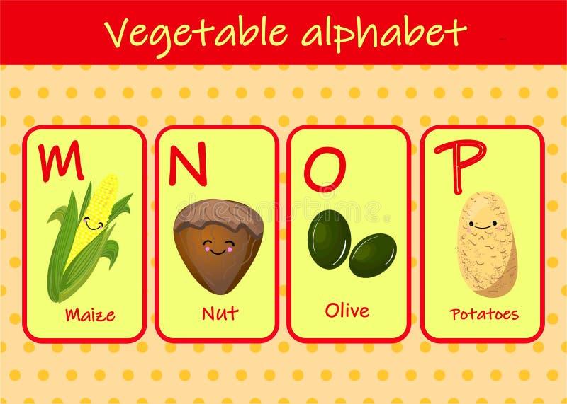 illustrazione con i caratteri divertenti La fonte dei bambini nelle VERDURE di stile del fumetto Metta delle lettere luminose mul illustrazione di stock