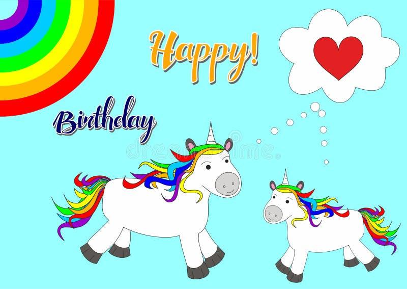 Illustrazione con i cavalli svegli e bei - unicorni royalty illustrazione gratis