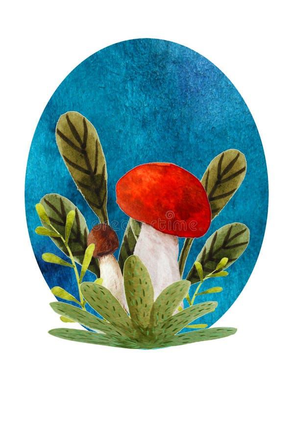 Illustrazione con i funghi illustrazione vettoriale