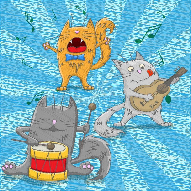 Illustrazione con i musicisti divertenti dei gatti illustrazione vettoriale