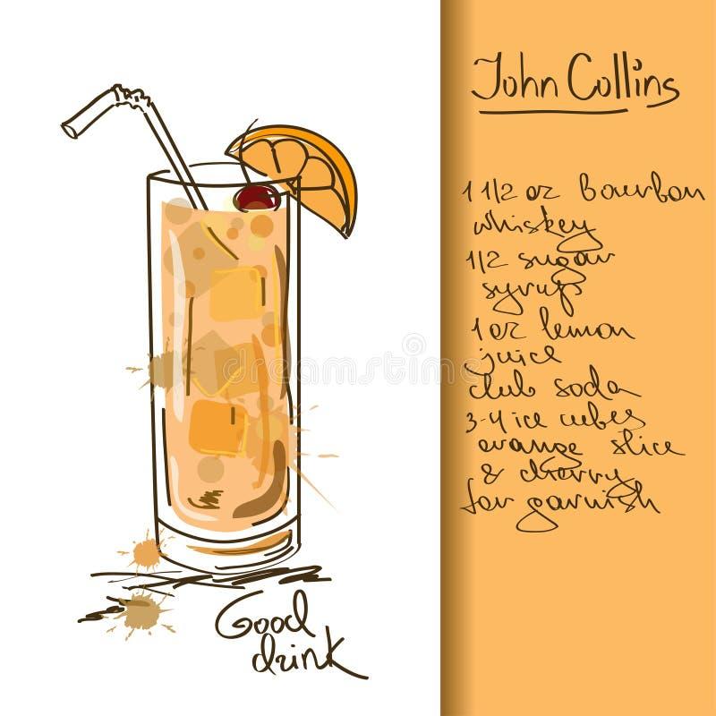 Illustrazione con il cocktail di John Collins illustrazione di stock