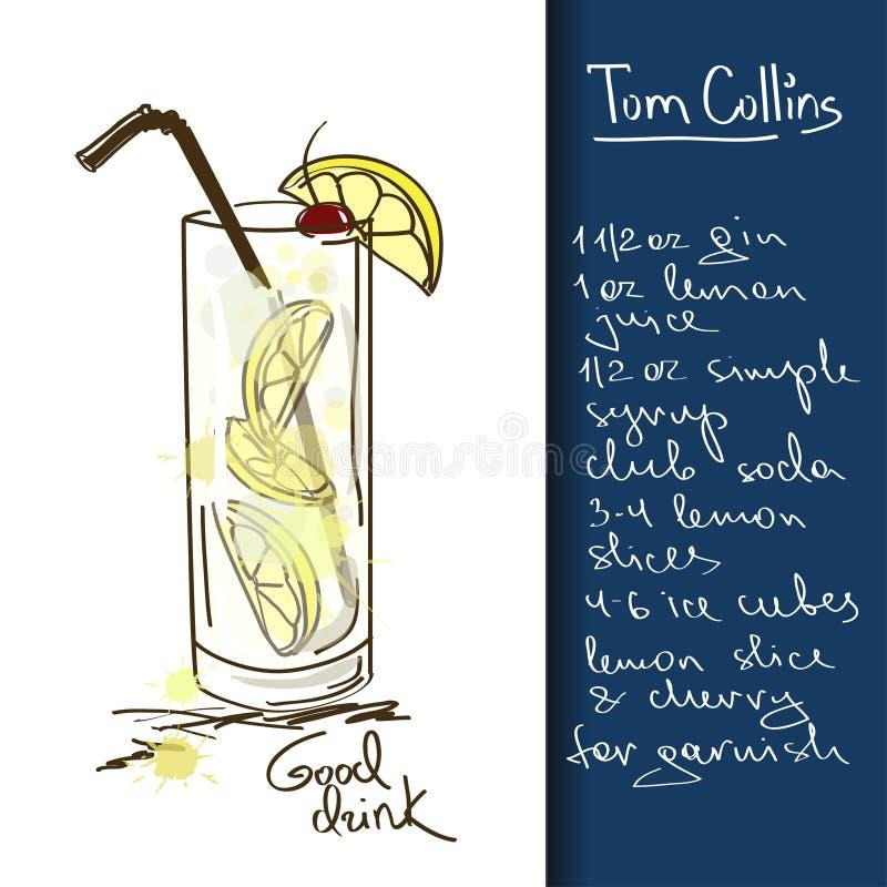 Illustrazione con il cocktail di Tom Collins illustrazione di stock