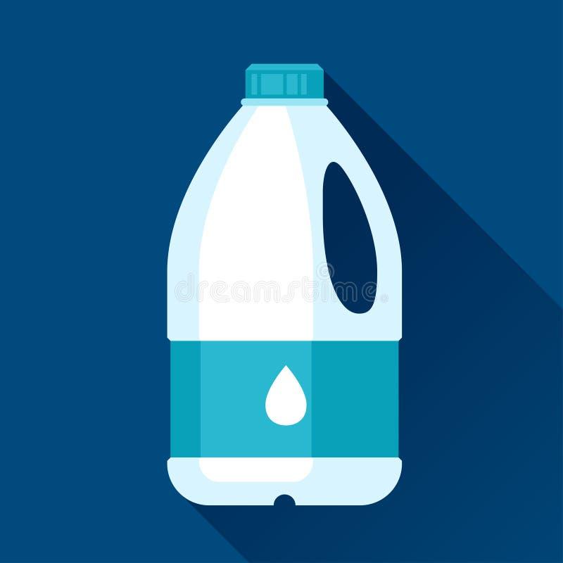 Illustrazione con il gallone di latte nella progettazione piana illustrazione di stock