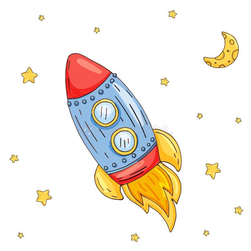 Illustrazione con il razzo sveglio del fumetto nello spazio illustrazione vettoriale