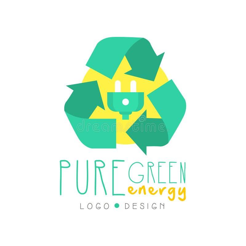 Illustrazione con il riciclaggio simbolo e della spina elettrica, modello originale di progettazione di logo Industria energetica illustrazione di stock