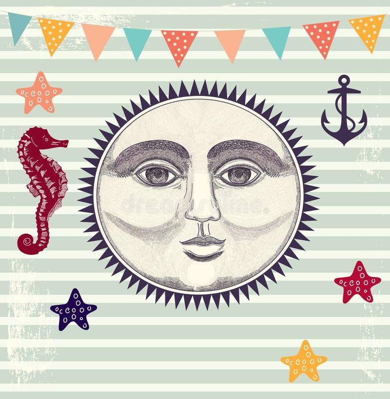 Illustrazione con il sole illustrazione vettoriale