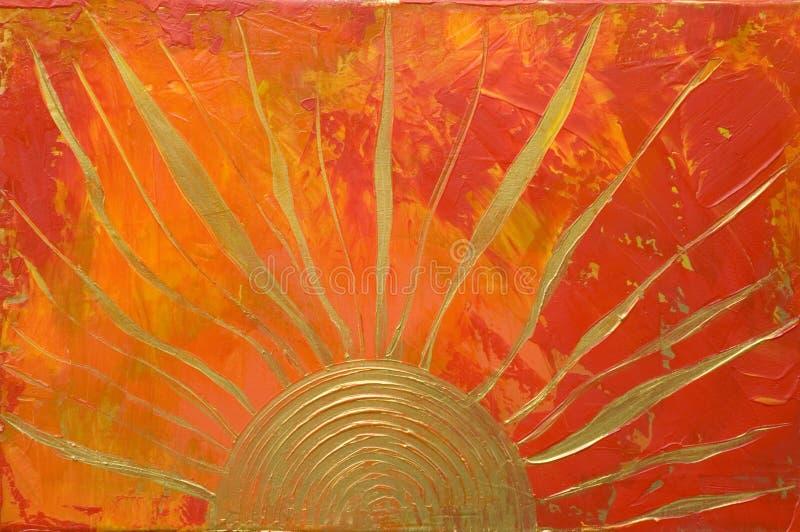 Illustrazione con il sole dorato illustrazione vettoriale