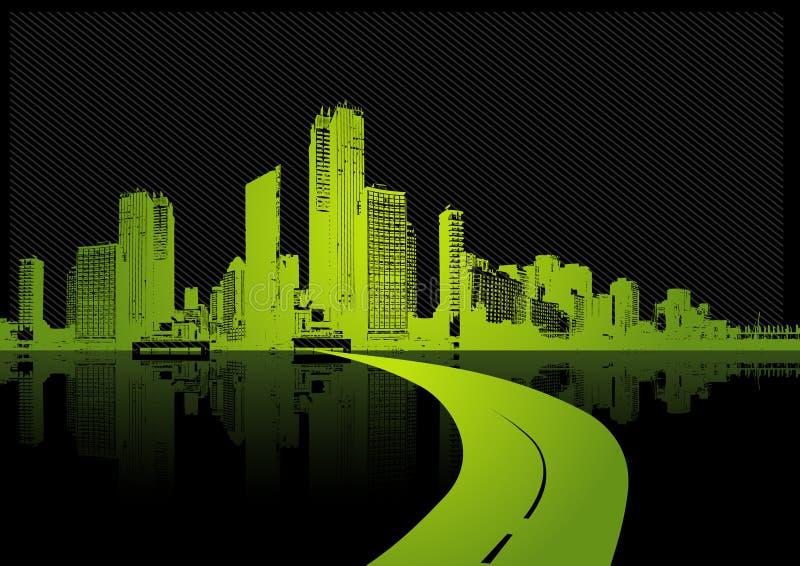 Illustrazione con la città. Vettore illustrazione vettoriale