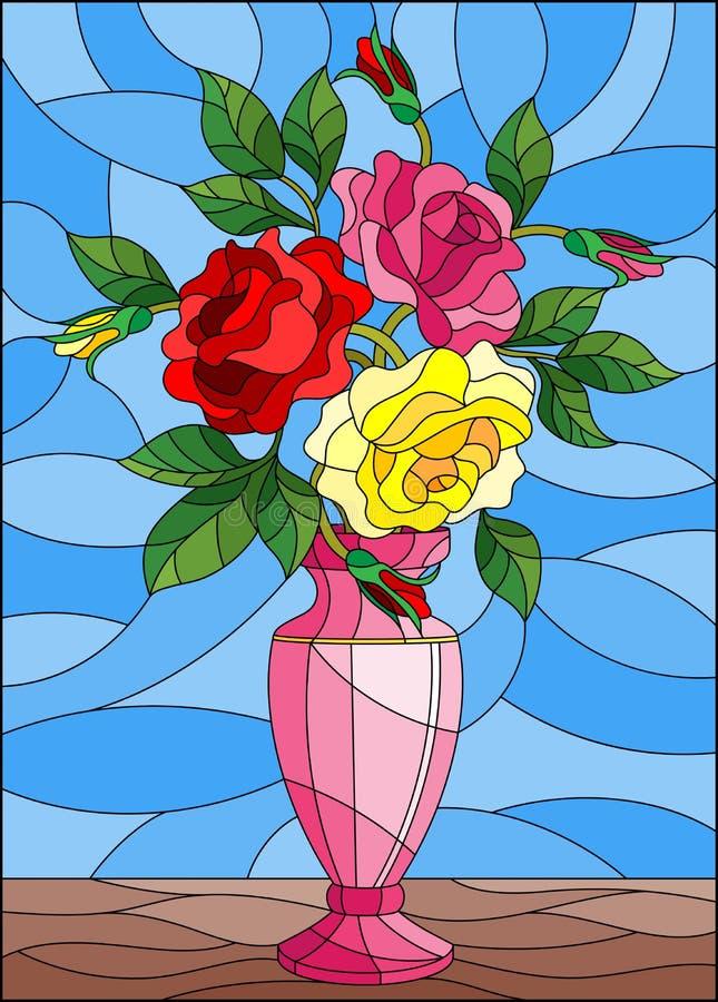 Illustrazione con la natura morta floreale, mazzo variopinto del vetro macchiato delle rose in un vaso rosa su un fondo blu illustrazione di stock