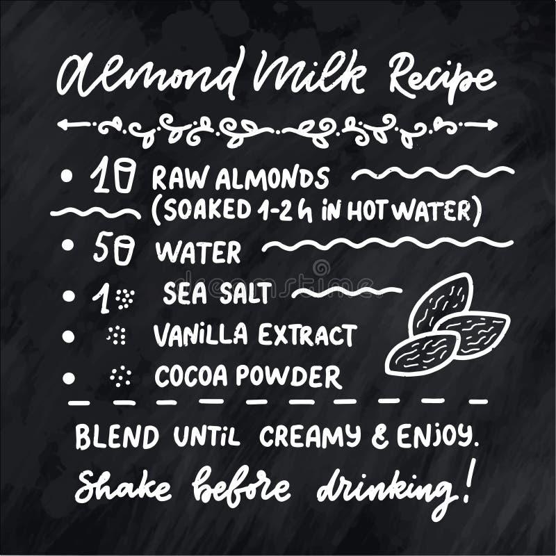 Illustrazione con la ricetta casalinga del latte della mandorla Modello di progettazione dell'alimento biologico Nutrizione veget royalty illustrazione gratis