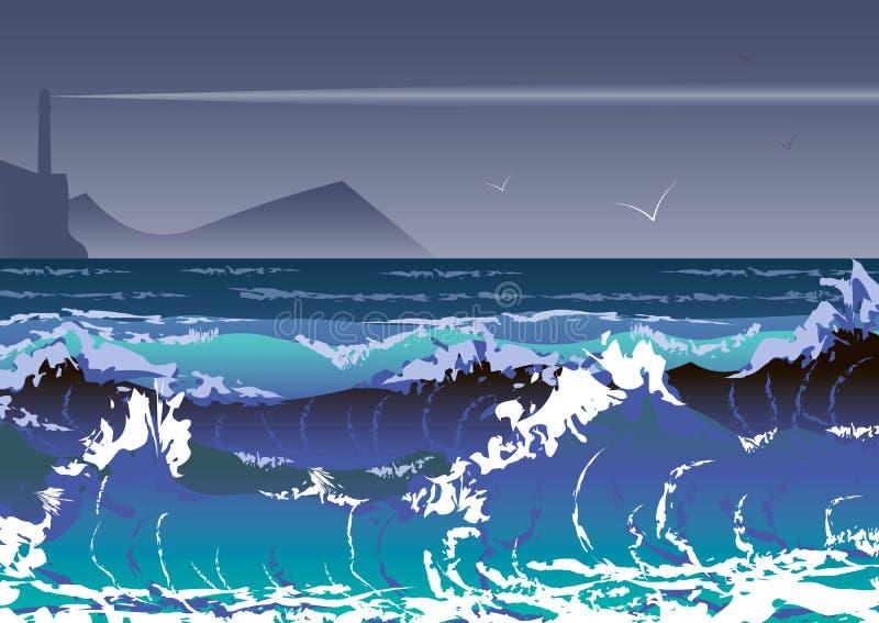 Illustrazione con la tempesta ed il faro del mare Onde del mare e cielo tempestoso illustrazione di stock