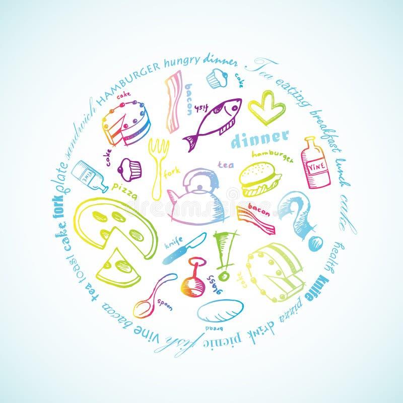 Illustrazione con le icone dell'alimento. illustrazione di stock