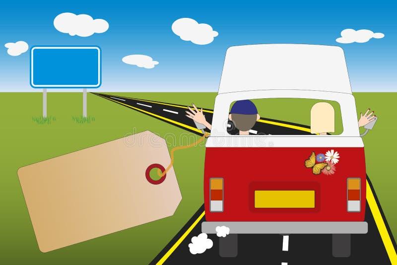 Illustrazione con lo spazio della copia del bus del campeggiatore concetto di viaggio o di movimento illustrazione vettoriale