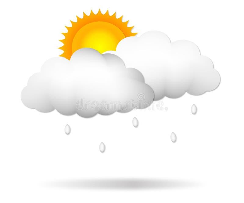 Illustrazione con ombra, progettazione della nuvola, vettore di vettore della pioggia della nuvola del cielo illustrazione vettoriale
