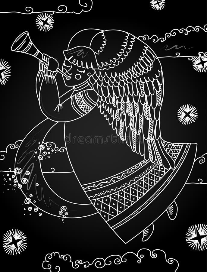 Illustrazione con un angelo di natale nello stile di una lavagna illustrazione di stock
