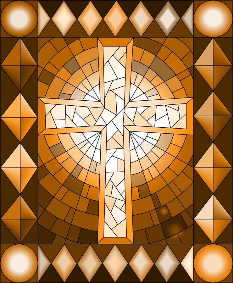 Illustrazione con un incrocio cristiano, struttura, tono marrone, seppia del vetro macchiato royalty illustrazione gratis