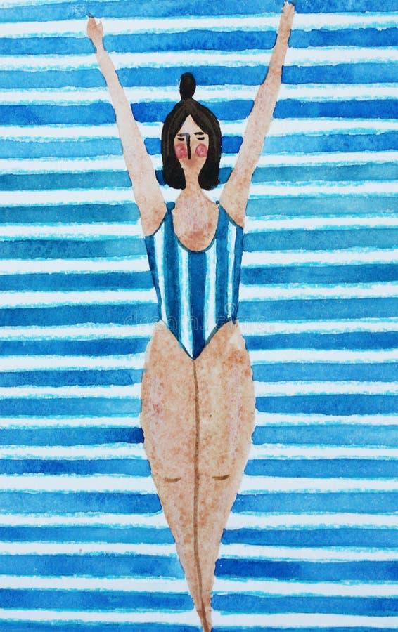 Illustrazione con una ragazza in un costume da bagno a strisce blu royalty illustrazione gratis